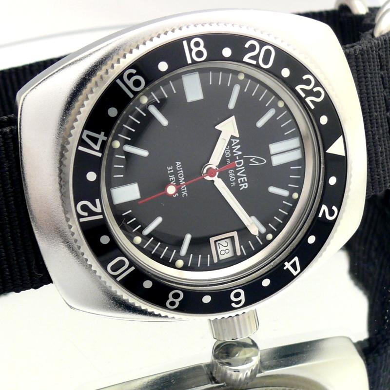 Am watches black gmt bezel am diver for Black bezel watches